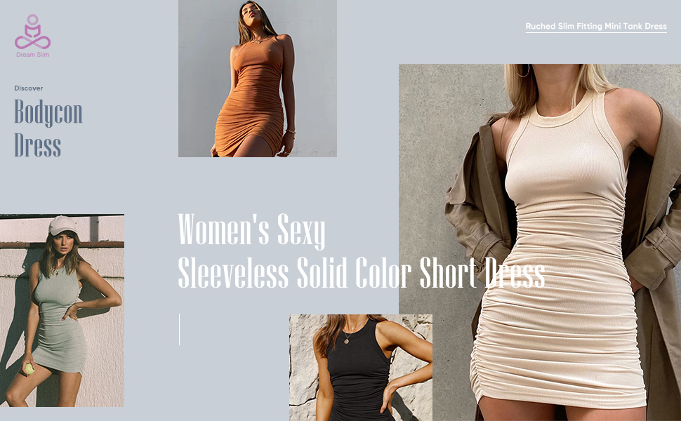 Women's Sexy Sleeveless Solid Color Short Dress