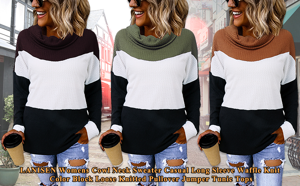 color block knit pullover sweaters