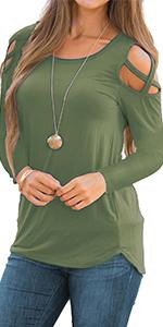 Martiount Damen Casual Langarm Button-Down T-Shirt Rundhals Bluse Einfarbig Tunika Tops mit Taschen
