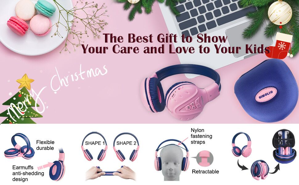 Adjustable and flexible bluetooth kids headphones