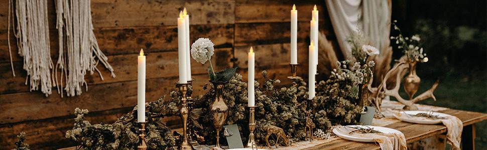 Dinner Flickering Flameless Taper Candles