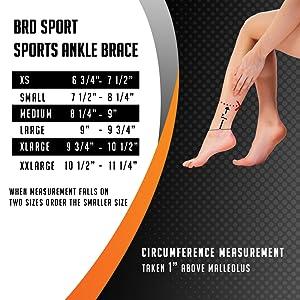 sports ankle brace measurement chart
