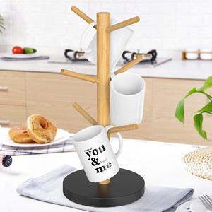 White Fuyamp HughStore Mug Holder Tree,Mug Tree Bamboo Coffee Cup Holder Drying Rack Jewelry Rack,6 Hooks