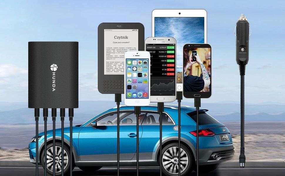 Cargador de Coche de 5 Puertos, HUNDA 45W 9A Cargador de Coche con Tecnología Ismart para iPhone XS/XS MAX/XR/X/8, iPad Pro/Air/Mini, Galaxy S8 / S7 / ...