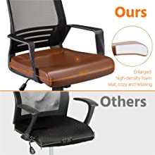 9  YAHEETECH Ergonomic Mesh Office Chair with Leather Seat, High Back Task Chair with Headrest, Rolling Caster for Meeting Room, Home Brown b807345c 0c82 48fd a906 d805e31757a6