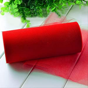 Red tulle fabric bolt