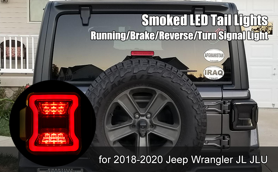 Smoked LED Tail Lights for 2018 2019 2020 Jeep Wrangler JL