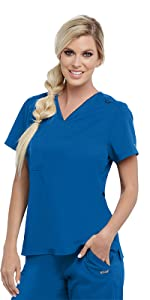 Model wearing Barco Grey's Anatomy Active GVST028 women's v-neck scrub top