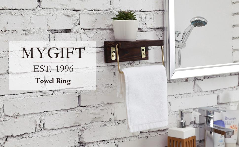 Modern Brass Metal Wire Dark Brown Burnt Solid Wood Wall Mounted Bathroom Hand Towel Holder Ring
