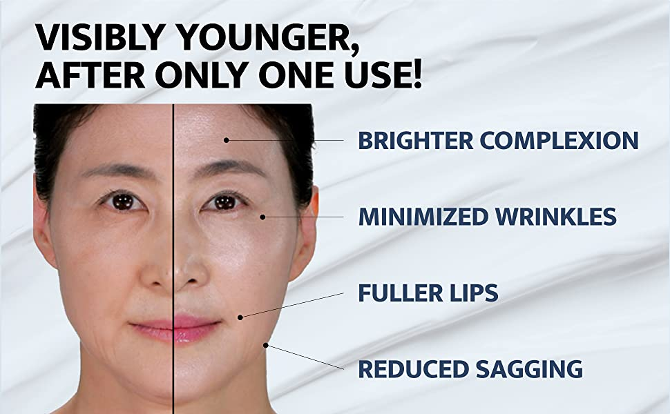 Visibly younger, after only one use! Brighter complexion. Reduced Wrinkles & Sagging. Fuller Lips.