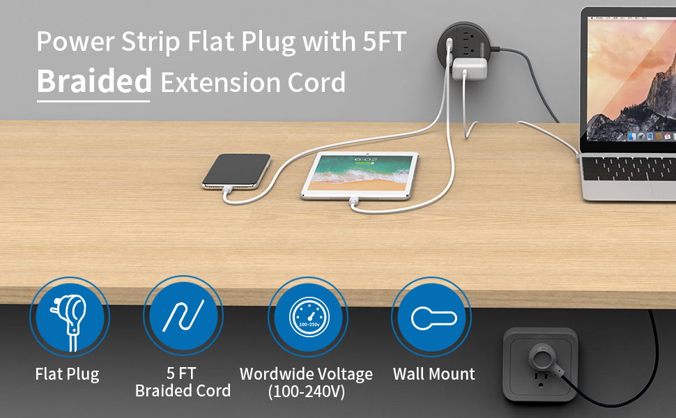 power strip with braided extension cord