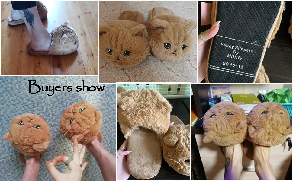 Cat plush slippers