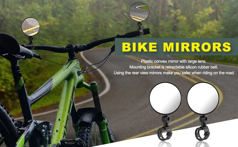 1 Pair. Handlebar Bike Mirror,/ Adjustable Bicycle Mirror Rotatable Safe Rearview Mirror Convex Mirror for Bicycle Mountain Road Bike,Wide Angle Rear View Mirror Bike Mirror