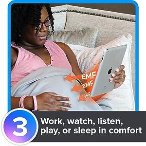 Work, watch, listen, play, or sleep in comfort with the EMF shielding blanket.