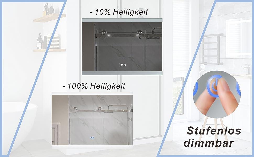 Badspiegel Beleuchtet LED Spiegel für Bad 100x70cm NIMES Typ B