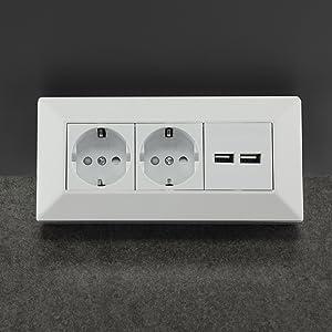 2-fach Aufbau Steckdosenleiste 2x USB Steckdose anthrazit Leiste Eck 230V 3600W