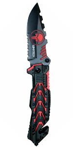 Punisher Black/Red Folding Knife