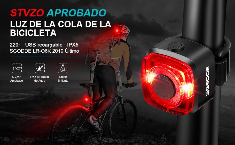 SGODDE Luz Trasera para Bicicleta, StVZO Aprobado, LED Luz Bicicleta USB Recargable, IPX5 Resistente al Agua, Lampara Trasera para Bici de MTB, Vista Gran Angular de 220° para Ciclismo, Acampar.: Amazon.es: Deportes