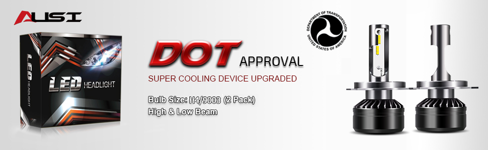 2 Pcs AUSI H4//9003 LED Motocycle Headlight Bulbs Conversion Kit 6000K 6000LM White D6 Series 12x CSP Chips Adjustable High Low Combo Beam