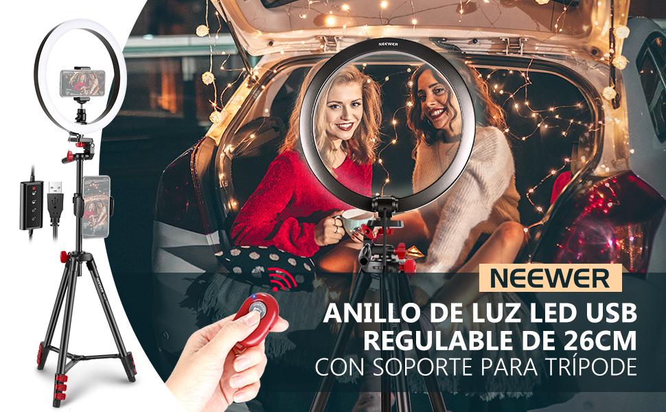 TIK Tok Luz De Anillo De C/ámara LED Regulable para Youtube Maquillaje Anillo De Luz LED 10 con Soporte para Tr/ípode Y Soporte para Tel/éfono Aro De Luz Transmisi/ón En Vivo