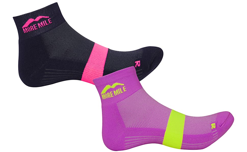 More Mile Preventer Twin Skin Womens Running Socks Pink Sports & Outdoors
