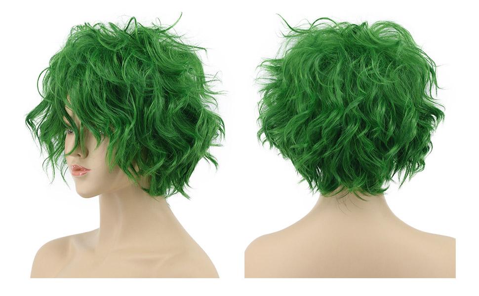 VGbeaty Men Women Short Straight Green Joker Wig Halloween Cosplay Costume Anime Wig