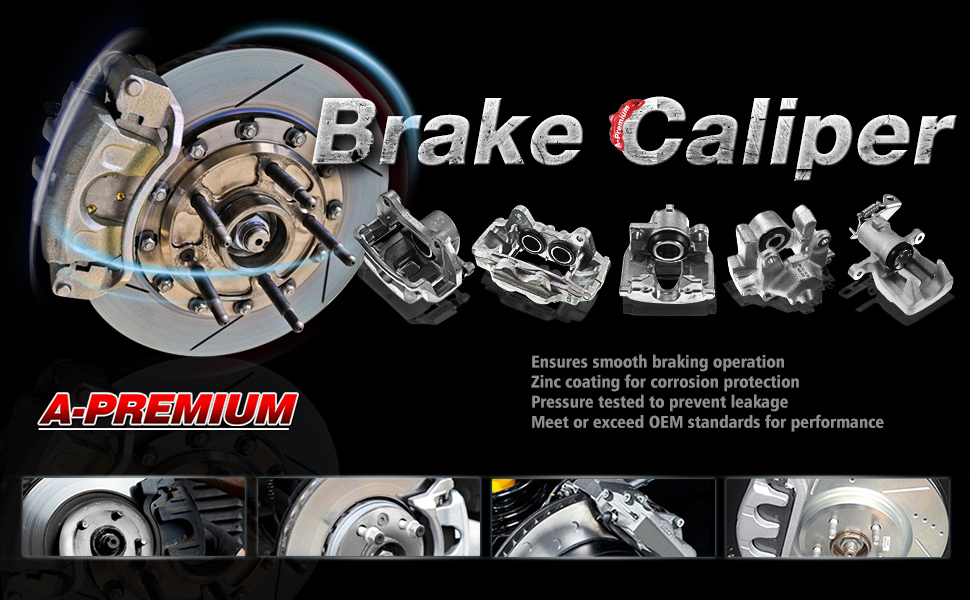A-Premium Brake Caliper with Bracket Compatible with Toyota Highlander 2001-2007 Front Sides Not Fit the Hybrid Models 2-PC