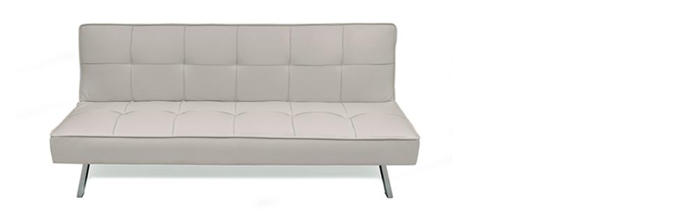 Homely - Sofá Cama de 3 plazas Apertura Clic-clac KOHTAO tapizado en Polipiel de 176 cm (Blanco Crema)
