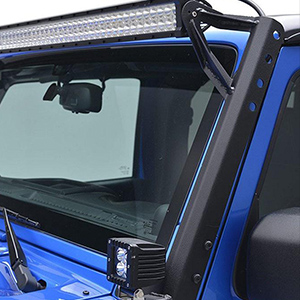 AUXMART A-Pillar Mounting Brackets for 52 Single LED Light Bar Fit Jeep Wrangler JK 2007-2016 1 Pair