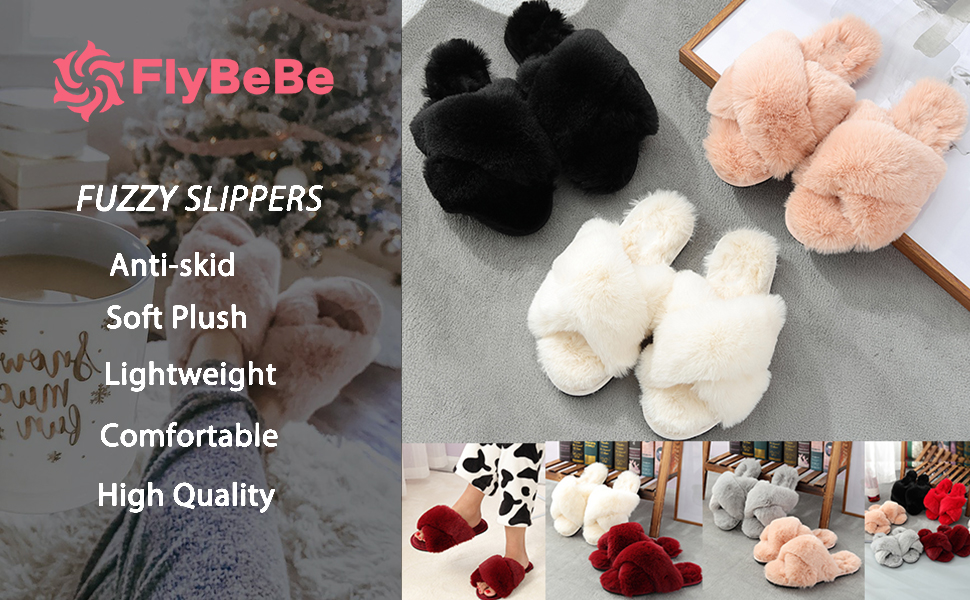 Women's Cross Band Slippers Soft Plush Furry Cozy Open Toe House Shoes Indoor Outdoor Fur slides