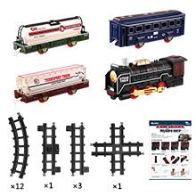 4 cars and 17 train tracks