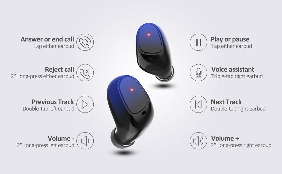 Control T/áctil Reproducci/ón de 24 Horas Auriculares Deportivos IPX5 Impermeables para iPhone//Android//AirPods Bajos Profundos Apt-X Auriculares Inal/ámbricos Bluetooth con Micr/ófonos Duales