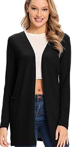 Lightweight Spring Coat Cardigans with Pocket
