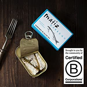 Matiz sardines Boneless skinless Canned in olive oil fillets Wild caught certified b corporation