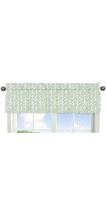 Green and White Leaf Floral Window Treatment Valance - Boho Farmhouse Sunflower Collection