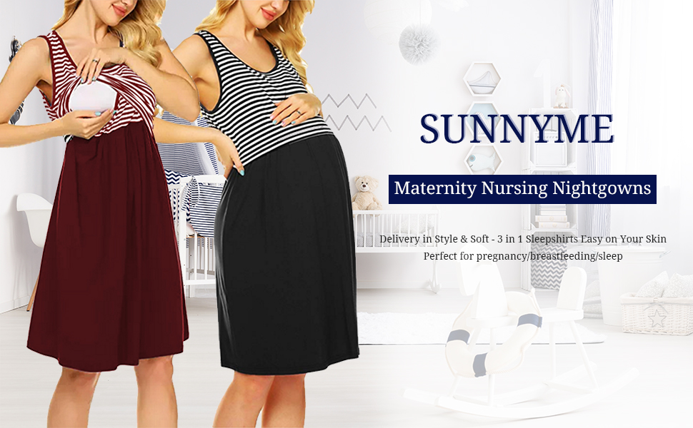 SUNNYME Nursing Nightgowns for Women Short Sleeve Striped Maternity Robe Soft Labor Delivery Hospital Gowns