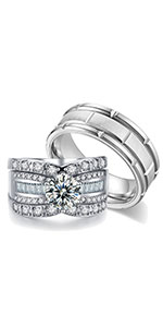AHLOE JEWELRY 2.3Ct 18k White Gold Wedding Ring Sets for Him and Her Women Men Titanium Stainless Steel Bands Cz Couple Rings
