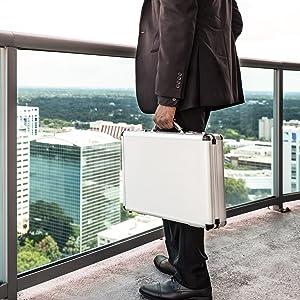 aluminum hard side briefcase portfolio case travel business case silver