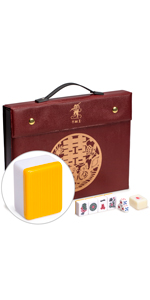 """Professional Chinese Mahjong Game Set, """"Double Happiness"""" (Yellow)"""
