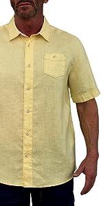 men linen shirt yellow