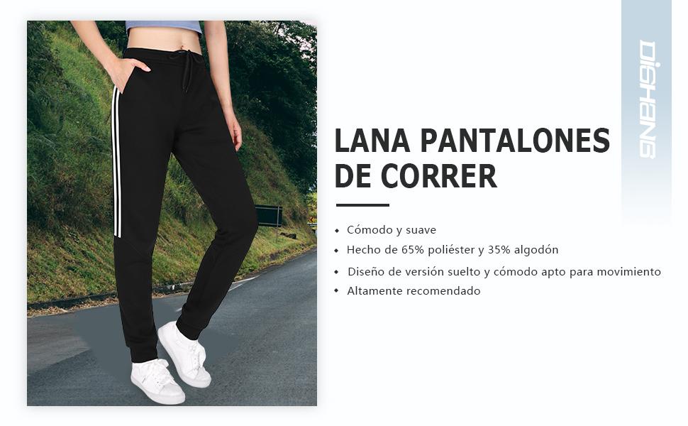 DISHANG Pantalón de chándal con Rayas Laterales para Mujer ...