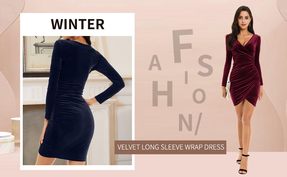 velvet long sleeve wrap dress