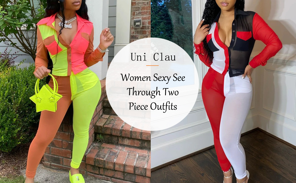 women sexy two piece sheer mesh color block  outfits