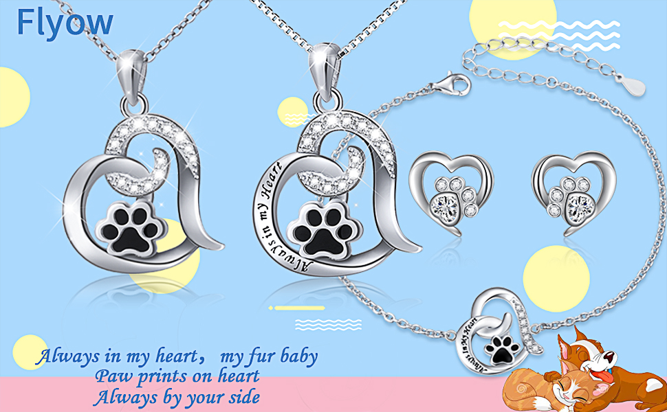 """Silver Plate /""""Always in my heart/"""" PENDANT NECKLACE B Dog Cat Pet Paw"""