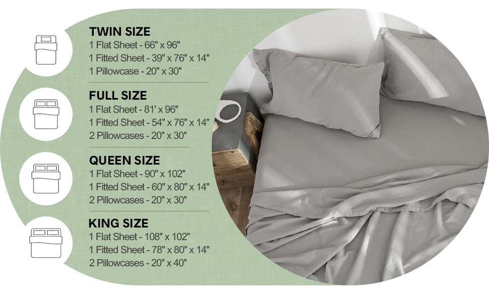 linen cotton sheet set size