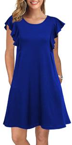 Summer Casual T Shirt Dresses Ruffle Sleeve Swing Dress Pockets