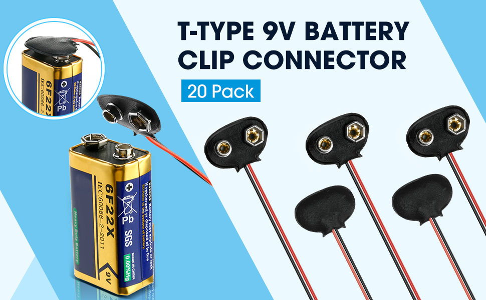 Pangda 20 Pack 9V Battery Clip Connector