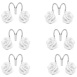 5 Colors Available White 12 Anti-Rust Decorative Resin Hooks for Bathroom Living Room Decoration DLD Shower Curtain Hooks Bedroom Baby Room