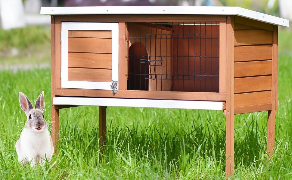 Merax Small Animals House Rabbit Bunny Hutch Auburn and White