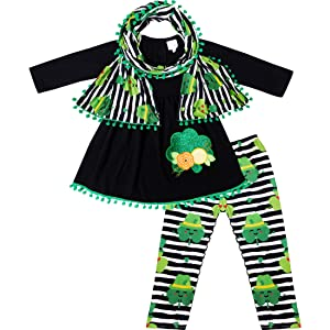 Glittery Shamrock Floral Scarf Outfit